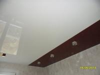 Натяжной потолок комбинированный, белый и коричневый глянец, фото 19