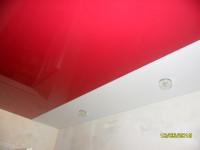 Натяжной потолок комбинированный, красный и белый глянец, фото 17