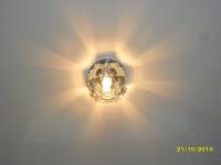 Светильник на белом матовом натяжном потолке, фото 13