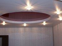 Натяжной потолок матовый белый и глянцевый винного цвета, фото 76