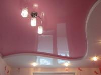 Натяжной потолок многоуровневый, розовый и белый глянец, фото 29
