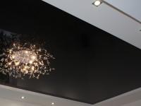 Натяжной потолок многоуровневый, глянцевый черный в составе гипсокартонной конструкции, фото 48