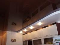 Натяжной потолок многоуровневый, глянцевый черно-коричневый и матовый белый, фото 51