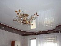 Натяжной потолок многоуровневый, глянцевый ивово-коричневый и белый, фото 64