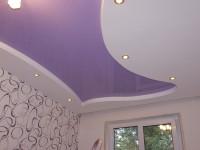 Натяжной потолок многоуровневый, глянцевый сиреневый и матовый белый, фото 44