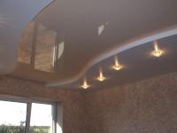 Натяжной потолок многоуровневый, глянцевый серо-бежевый и матовый белый, фото 46