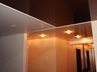 Натяжные потолки в разных комнатах: глянцевый черно-коричневый, глянцевый бежевый и матовый белый, фото 52