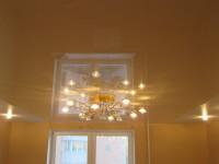 Натяжной потолок комбинированный, кремовый глянец и белый сатин, фото 32