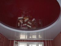 Натяжной потолок двухуровневый глянцевый белый и винный, фото 94