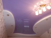 Натяжной потолок многоуровневый, глянцевый сиреневый и матовый белый, фото 43