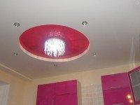 Натяжной потолок многоуровневый, матовый белый и глянцевый насыщенный розовый, фото 89